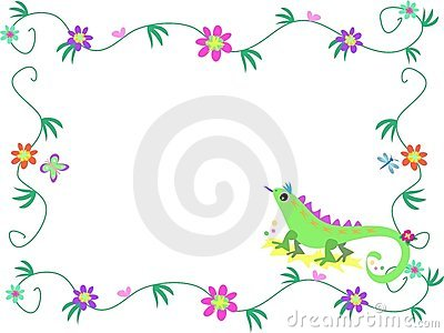 Floral Frame with Lizard, Butterfly, and Dragonfly