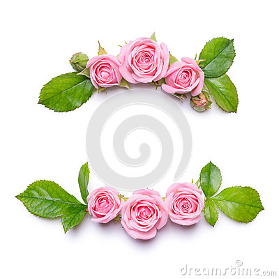 Free Floral Frame With Pink Roses On A White Background. Border Of Flowers. Stock Images - 92687604