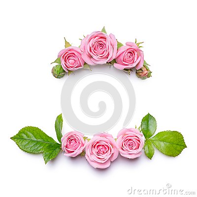 Free Floral Frame With Pink Roses On A White Background. Border Of Flowers. Pattern For Invitation Card Stock Image - 100930341