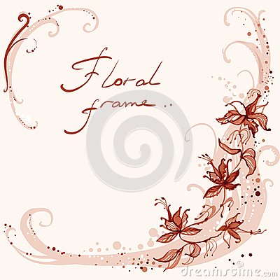 Free Floral Frame With Swirls Royalty Free Stock Photos - 36817198