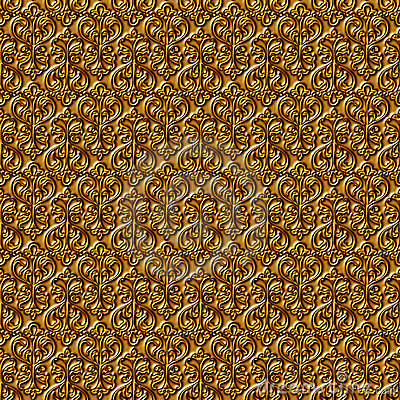 Floral gold seamless background.