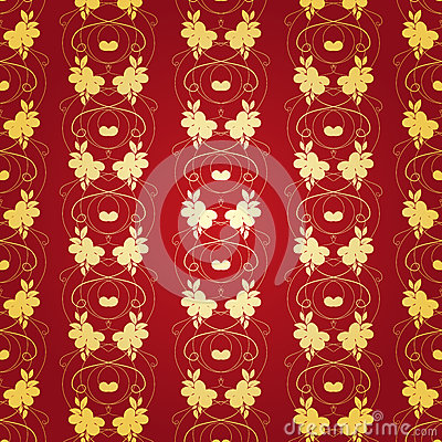 Floral Gold Background on Red