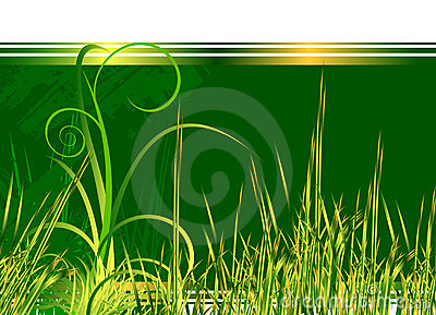 Floral green background with grass
