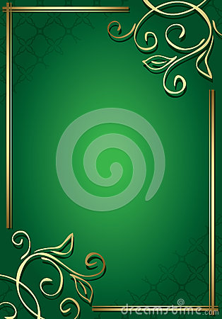 Floral green frame with gold decorations - vector