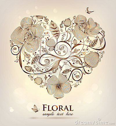 Free Floral Heart Royalty Free Stock Image - 23060956