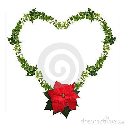 Floral heart - Christmas frame isolated
