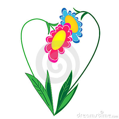 Floral heart illustration.isolated object