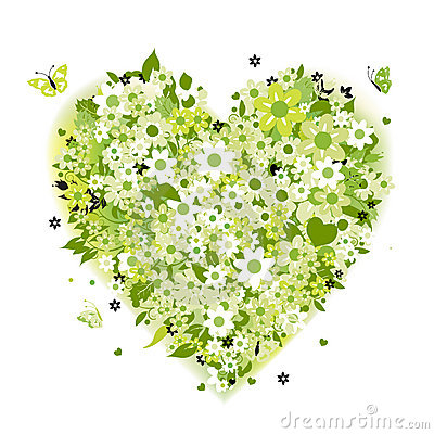Floral heart shape, summer green