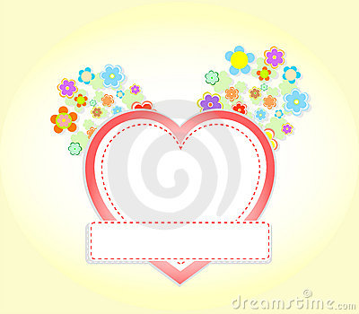 Floral heart wedding or valentine invitation card