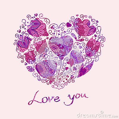 Floral hearts Vector Illustration