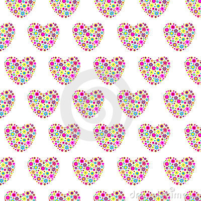 Floral hearts seamless background