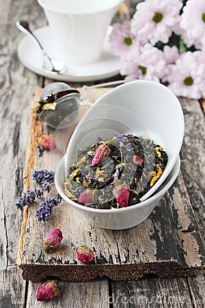 Free Floral Herbal Tea On A Wooden Table. Royalty Free Stock Photography - 50094637
