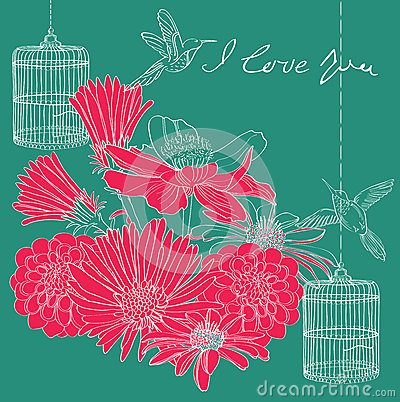 Floral holiday Valentine card
