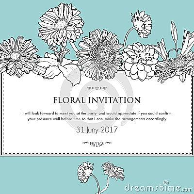Floral Horizontal Invitation Card Vector Stock Vector