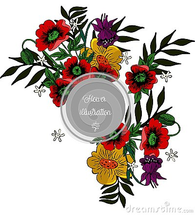 Floral illustration with poppies around gray frame vector image Cartoon Illustration