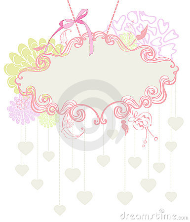 Floral label for Valentine holiday
