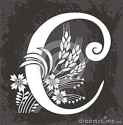 Floral letter C
