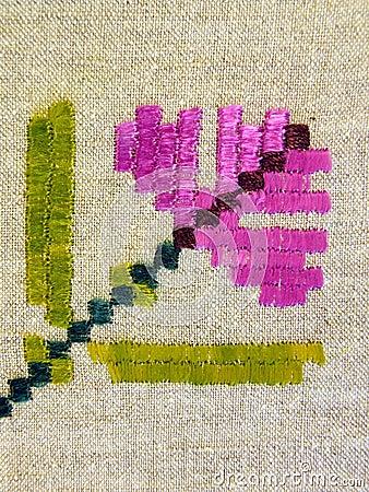 Floral linen fabric, needlework
