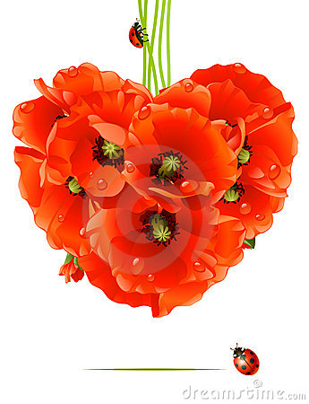 Free Floral Love Card (poppy Heart) Stock Photo - 14122360
