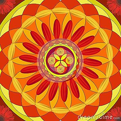 Floral mandala, geometric drawing - sacred circle