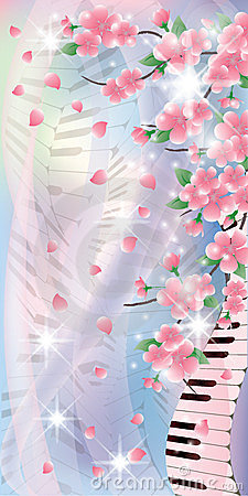 Floral Melody banner,  illustration