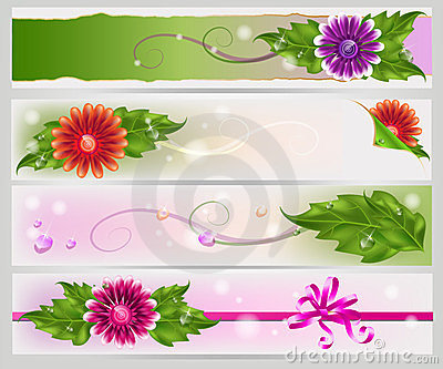 Floral mesh banners set