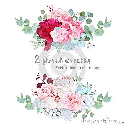 Free Floral Mix Wreath Vector Design Set Stock Photo - 84920410