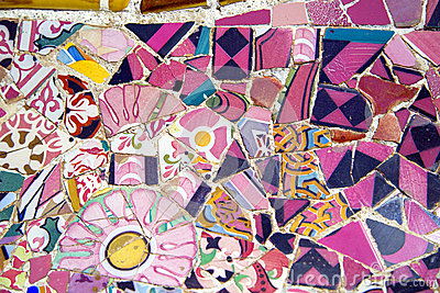 Floral mosaic in Park Guell, Barcelona, Spain
