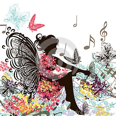 Free Floral Music Fairy With Butterflies Stock Photography - 47379462