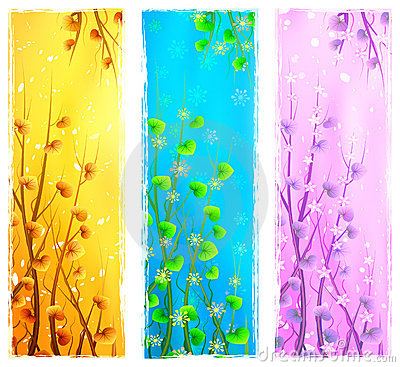 Floral natural vertical banners