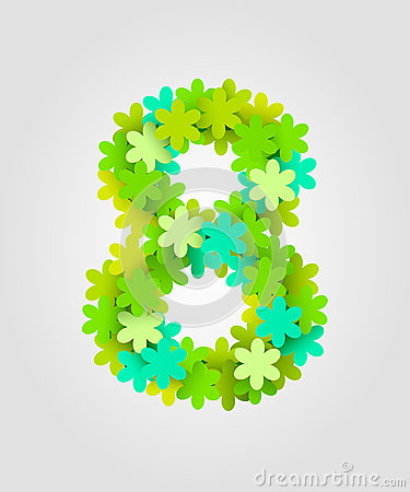 Free Floral Numbers. Green Flowers. Vector Illustration. Number 8 Stock Image - 90031031