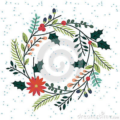 Free Floral Or Botanical Christmas Wreath Royalty Free Stock Photography - 46968987