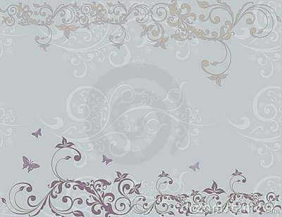Butterfly and Scroll Background