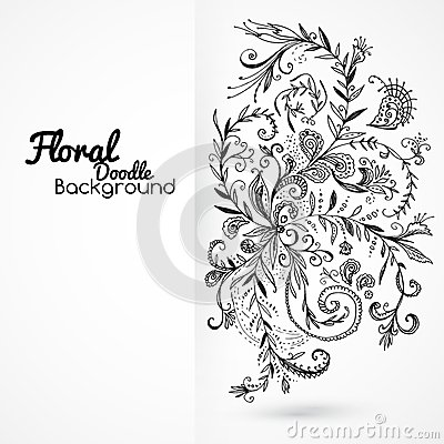 Floral ornament black and white background card