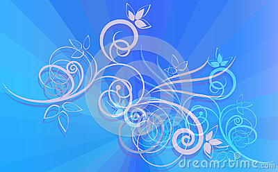 Floral ornament on blue rays