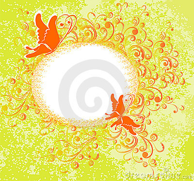 Floral ornament and butterfly. Vector illustration