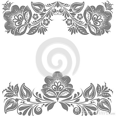Floral ornament. Design element isolated on White background.  illustration