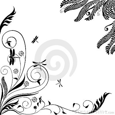 Floral ornament with dragonflies: Vector