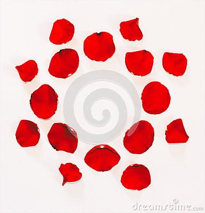 Free Floral Ornament From Petals Of Red Roses On A White Background Royalty Free Stock Photo - 89600645