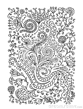 Floral ornament, hand drawn sketch for your design
