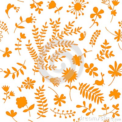 Floral ornament sketch, seamless background