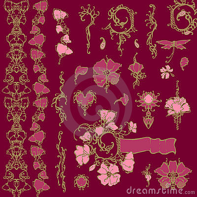 Floral ornament vector design elements