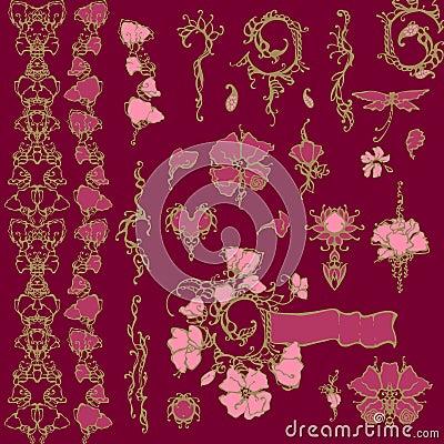 Floral ornament vector design elements