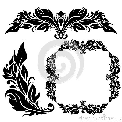 Free Floral Ornamental Decorations. Black Filigree Elements Isolated On White Background Royalty Free Stock Photos - 125240758