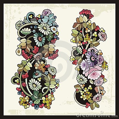 Floral Ornaments in Russian Traditional Style