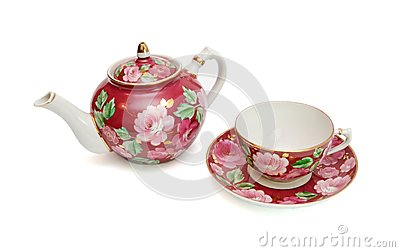 Floral-painted tea service isolated