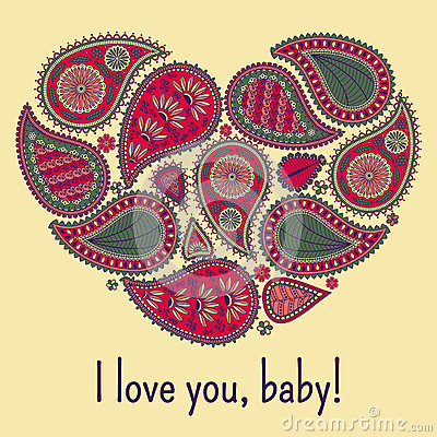 Free Floral Paisley Background With Ethnic Ornament And Heart Shape. Romantic Design In Red, Green Colors. Text I Love You Baby.  Royalty Free Stock Image - 70929226