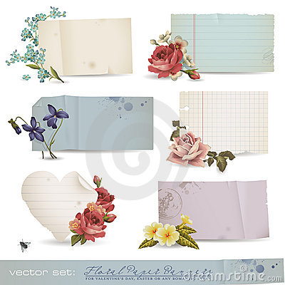Free Floral Paper Banners Royalty Free Stock Photos - 18097738