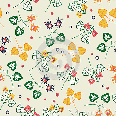 Floral pattern on beige background