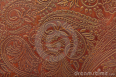 Floral pattern in brown leather